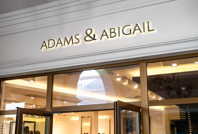 Adams & Abigail logo design storefront