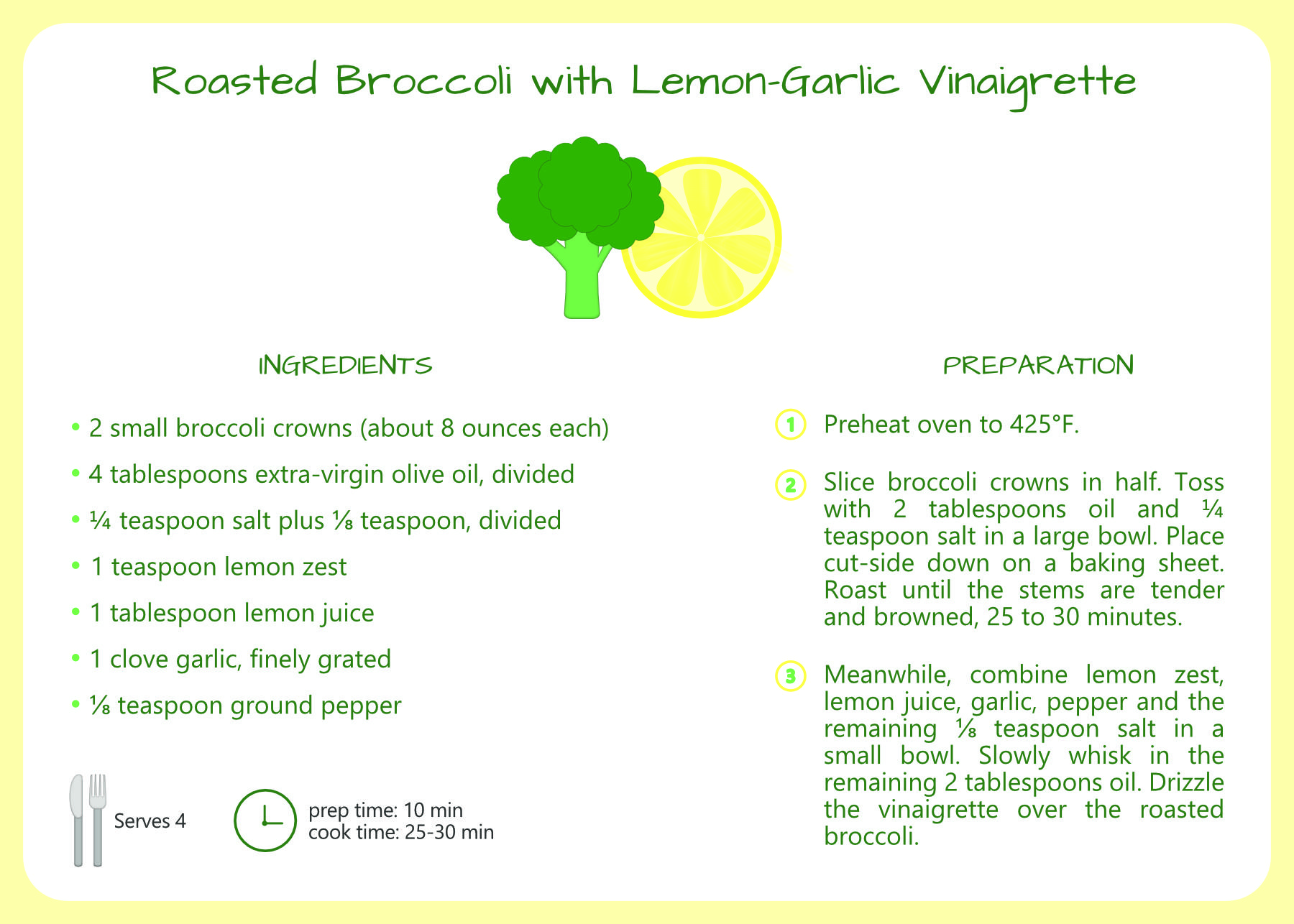 Roasted Broccoli with Lemon-Garlic Vinaigrette Recipe Card and icon design for Make a Mark global awareness challenge to combat for insecurity