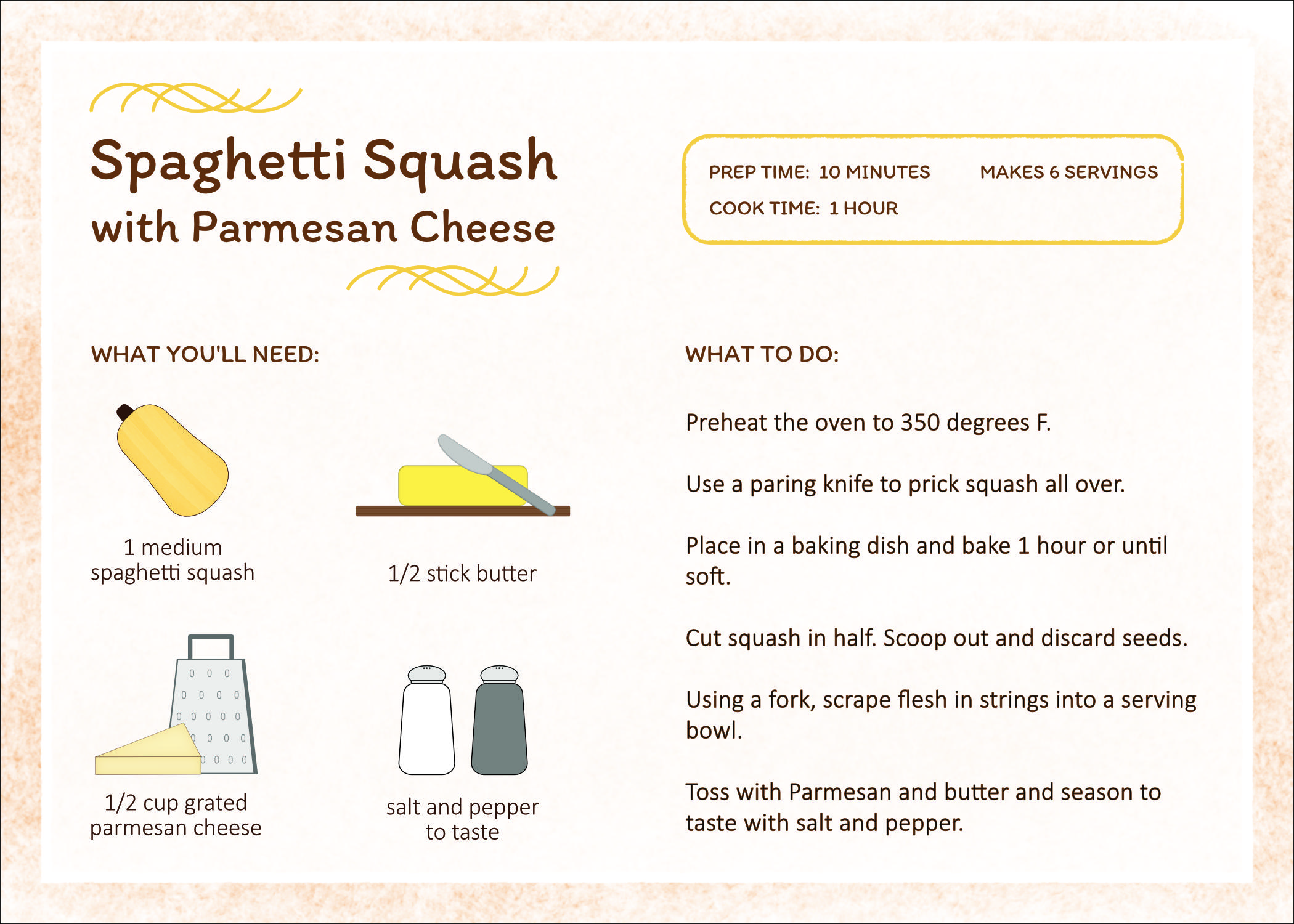 Spaghetti Squash Recipe Card and icon design