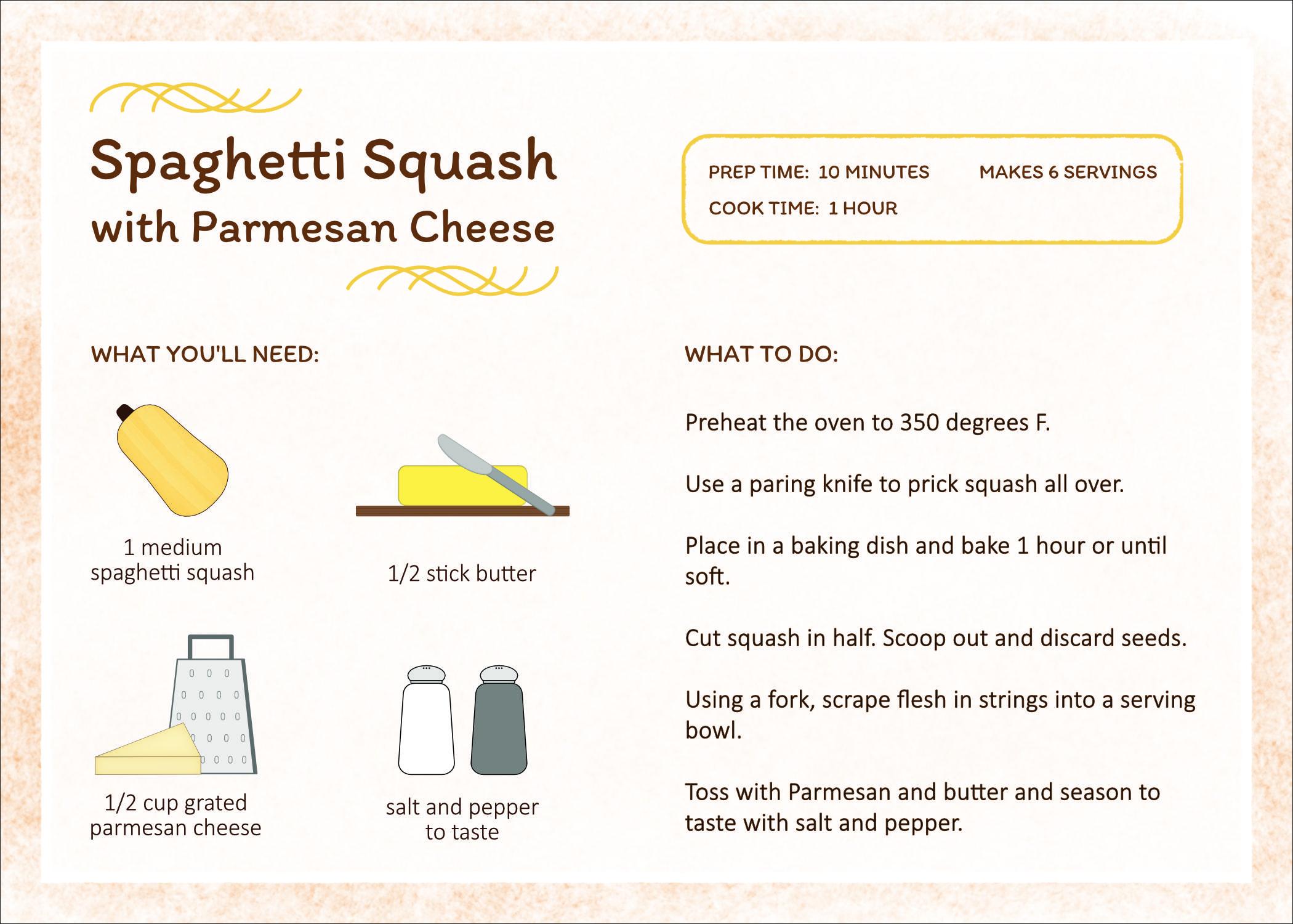 Spaghetti Squash Recipe Card and icon design