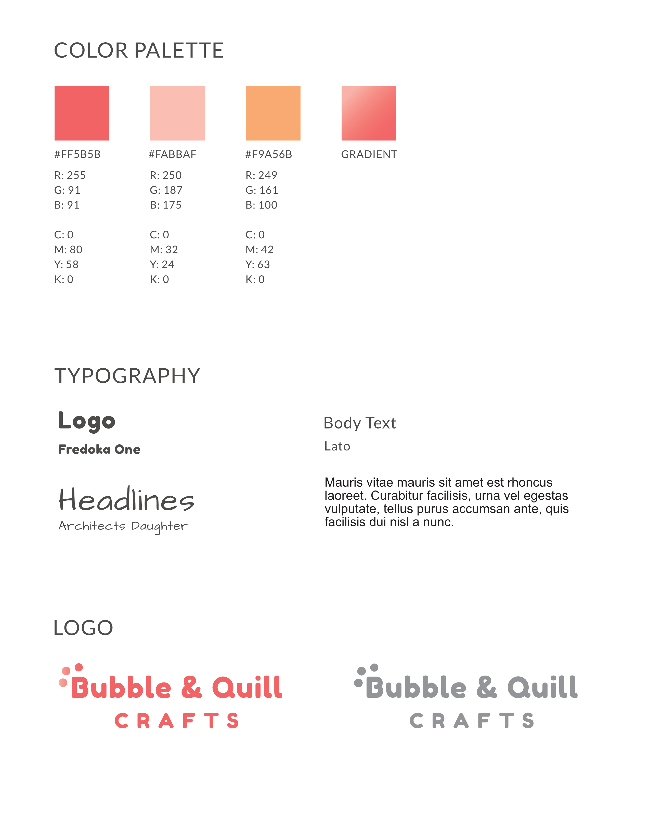 Bubble & Quill Crafts brand style guide