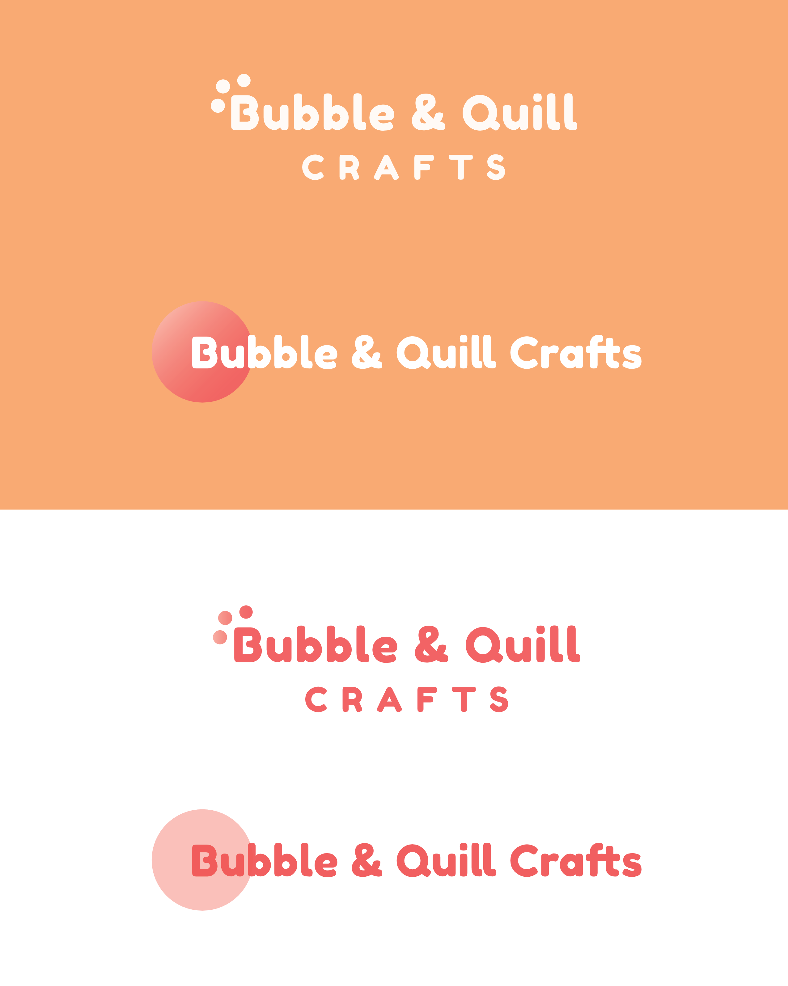 Bubble & Quill Crafts Logo design Options