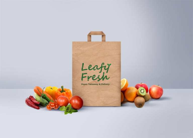 Leafy Fresh vegan take out logo design on paper bag
